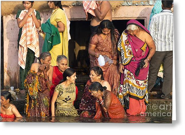 Holier Greeting Cards - Bathing In The Ganges Greeting Card by Tony Camacho