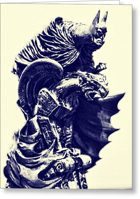 Caped Crusader Greeting Cards - Batman - The Gargoyle Perch  Greeting Card by Lee Dos Santos