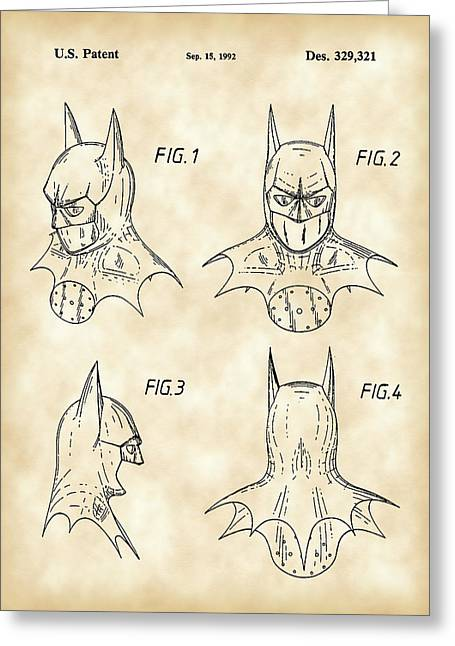 Crime Fighter Greeting Cards - Batman Patent 1992 - Vintage Greeting Card by Stephen Younts