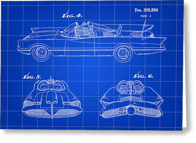 Caped Crusader Greeting Cards - Batmobile Patent 1966 - Blue Greeting Card by Stephen Younts