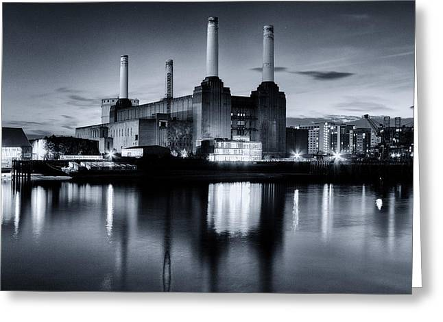 South Bank Greeting Cards - Battersea Blues Greeting Card by Ian Hufton