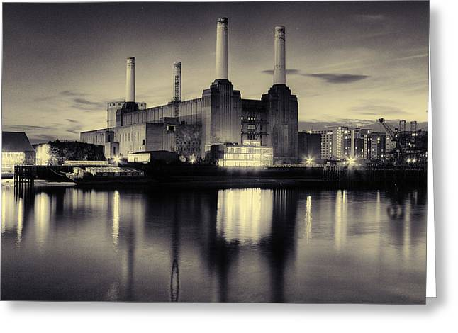 Thames River Greeting Cards - Battersea Power Station London Greeting Card by Ian Hufton