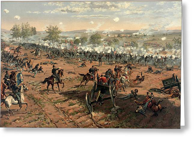 Bayonet Greeting Cards - Battle Of Gettysburg Greeting Card by Thure de Thulstrup