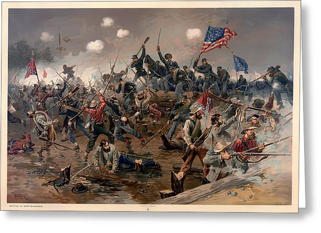 Confederate Flag Paintings Greeting Cards - Battle of Spottsylvania Greeting Card by Thure de Thulstrup