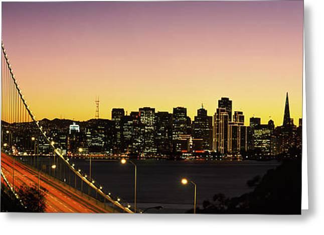 Bay Bridge Greeting Cards - Bay Bridge San Francisco Ca Usa Greeting Card by Panoramic Images
