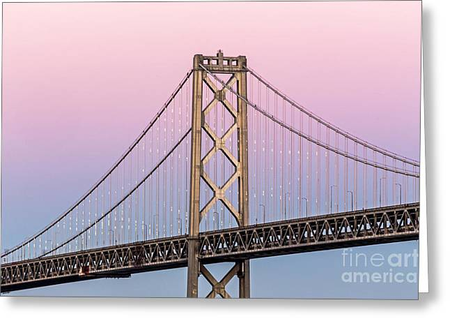 Kate Brown Greeting Cards - Bay Bridge Lights at Sunset Greeting Card by Kate Brown