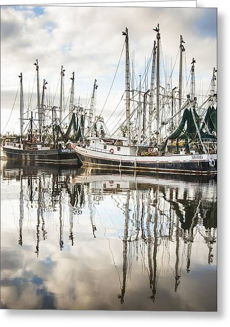 Reflections Of Sky In Water Greeting Cards - Bayou LaBatre AL Shrimp Boat Reflections Greeting Card by Jay Blackburn