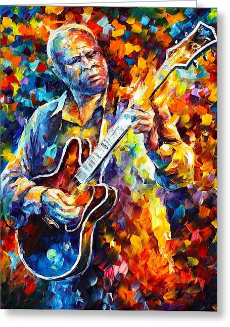 Enjoying Greeting Cards - Bb King  Long Nights Greeting Card by Leonid Afremov