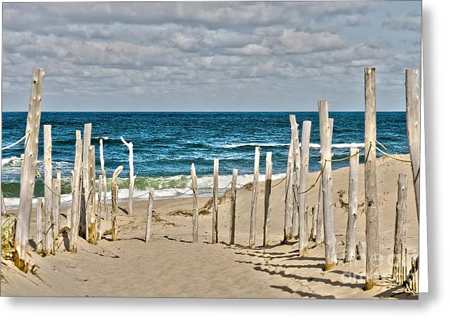Beach Fence Digital Art Greeting Cards - Beach at Cape cod Greeting Card by Patricia Hofmeester