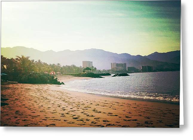 Puerto Vallarta Digital Greeting Cards - Beach at Dawn Greeting Card by Natasha Marco