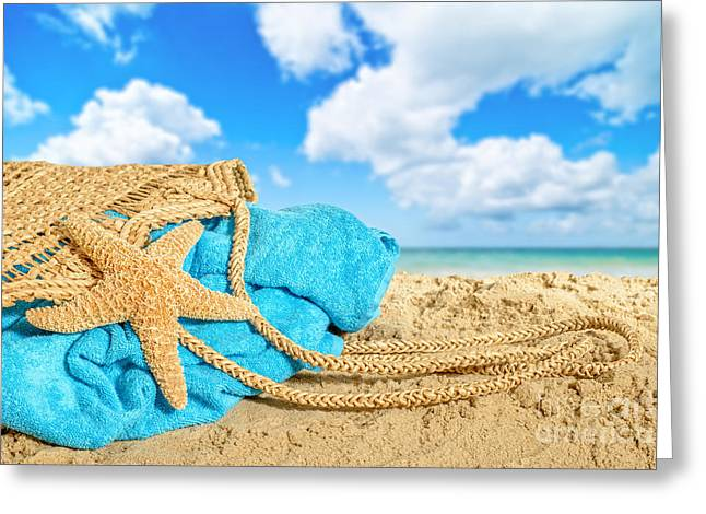 Bag Greeting Cards - Beach Basket Greeting Card by Amanda And Christopher Elwell