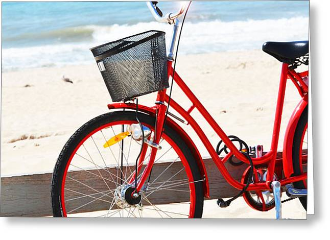 Beach Bicycle Greeting Card by adspice studios