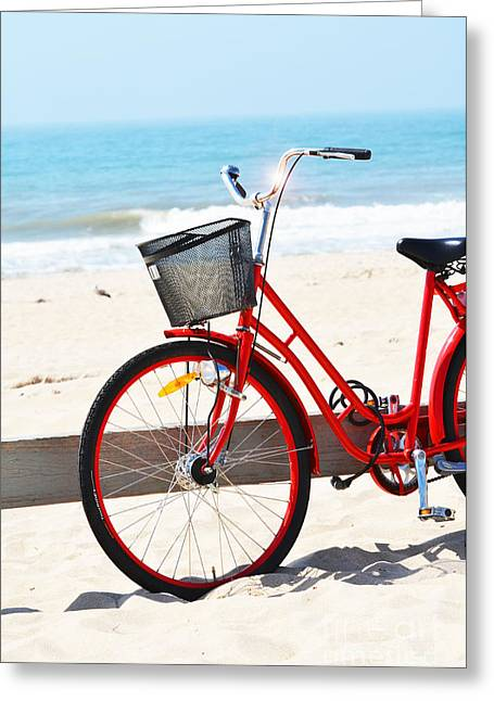 Hamptons Greeting Cards - Whimsical Red Bicycle on The Beach Greeting Card by ArtyZen Studios - ArtyZen Home