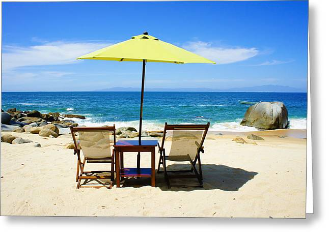 Beach Umbrella Greeting Cards - Beach Chairs Greeting Card by Aged Pixel