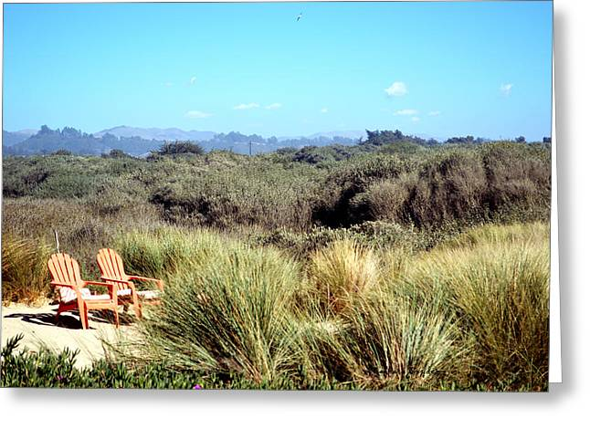 Barbara Snyder Greeting Cards - Beach Chairs With A View Greeting Card by Barbara Snyder