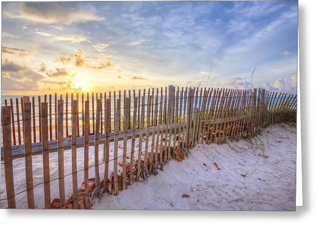 Sanddune Greeting Cards - Beach Fences Greeting Card by Debra and Dave Vanderlaan