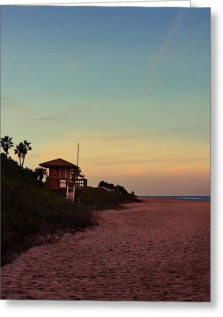 Beach Hut Greeting Card by Laura Fasulo