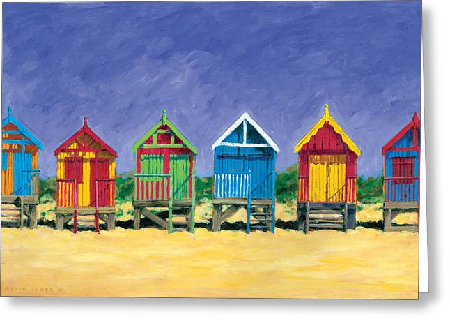 Golden Sky Greeting Cards - Beach Huts Greeting Card by Brian James