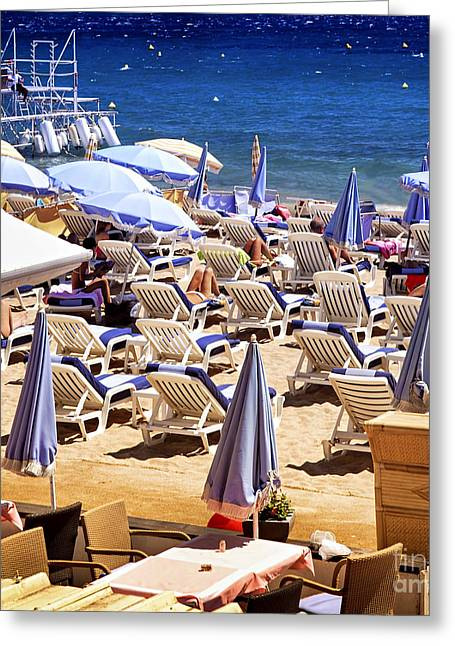 Expensive Greeting Cards - Beach in Cannes Greeting Card by Elena Elisseeva