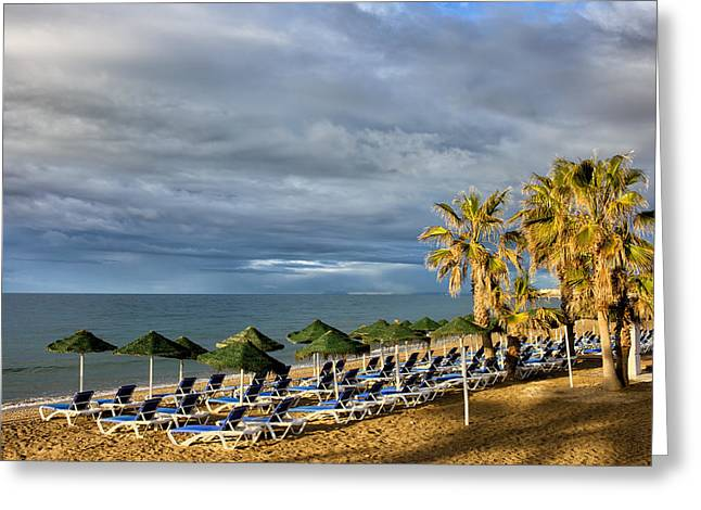 Lounger Greeting Cards - Beach in Marbella Greeting Card by Artur Bogacki