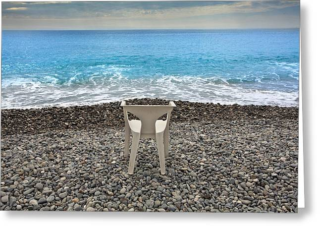 Ocean. Reflection Greeting Cards - Beach in Nice  Greeting Card by Al Hurley