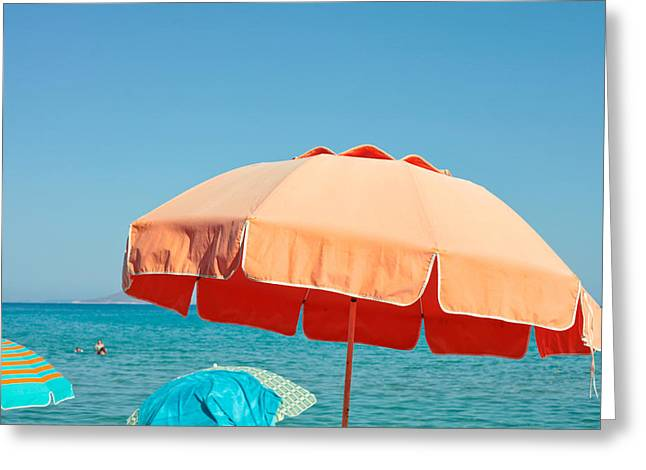 Weekend Photographs Greeting Cards - Beach parasol Greeting Card by Tom Gowanlock