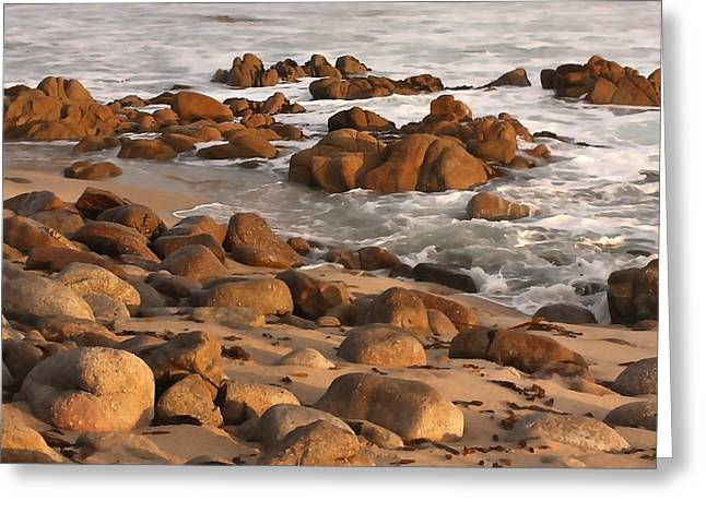Ocean Art. Beach Decor Greeting Cards - Beach Rocks Greeting Card by Art Block Collections
