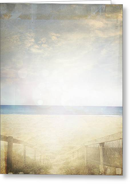 Beach Scene Greeting Card by Les Cunliffe