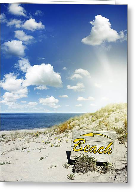 Beautiful Scenery Greeting Cards - Beach sign Greeting Card by Les Cunliffe