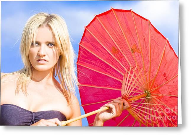 Disbelief Greeting Cards - Beach Umbrella Greeting Card by Ryan Jorgensen