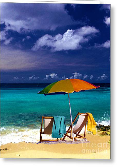 Beach Towel Greeting Cards - Beach Umbrella Greeting Card by Susanne Van Hulst