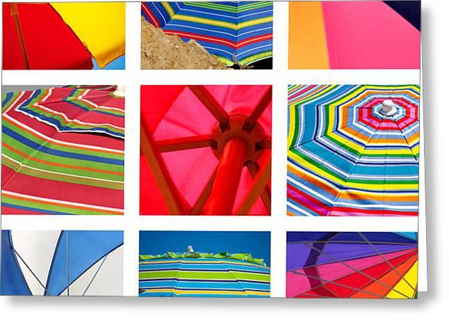Rainbow Umbrella Greeting Cards - Beach Umbrellas Greeting Card by Art Block Collections