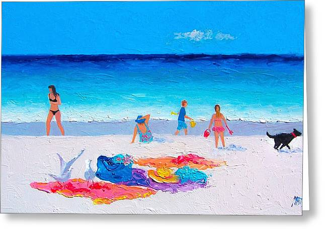 Dog Beach Print Greeting Cards - Beach Vacation Greeting Card by Jan Matson