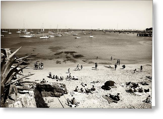 Sailboat Photos Greeting Cards - Beach View in Cascais Greeting Card by John Rizzuto