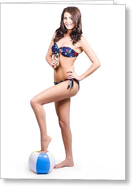 Swimwear Greeting Cards - Beach volleyball girl standing on beach ball Greeting Card by Ryan Jorgensen