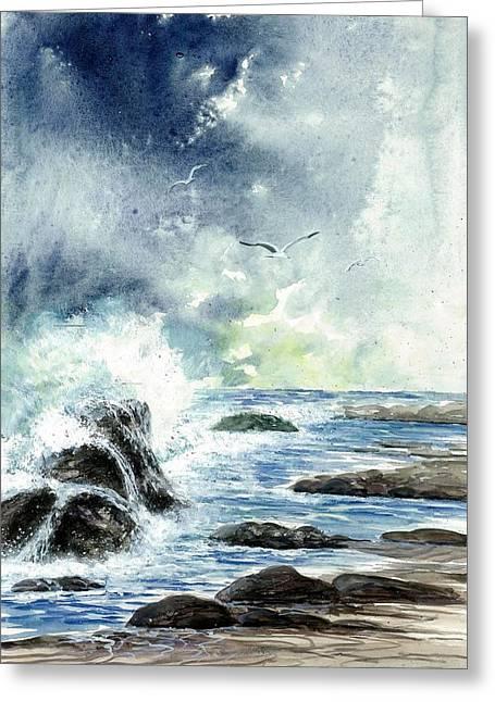 Beach Waves Greeting Card by Steven Schultz