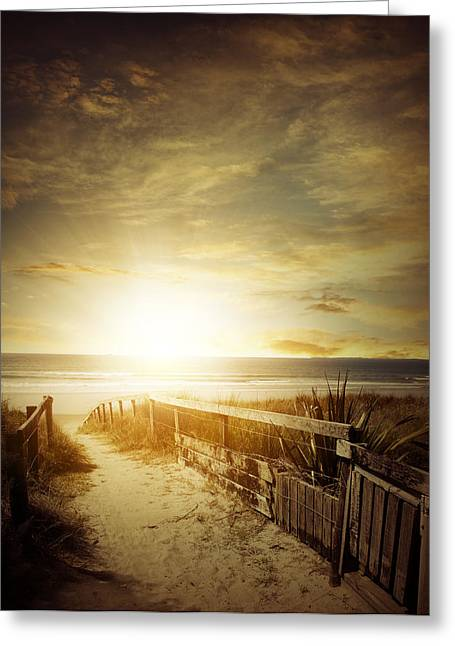 Lighted Pathway Greeting Cards - Beachlight Greeting Card by Les Cunliffe