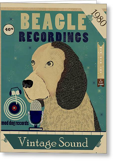Beagle Prints Greeting Cards - Beagle Records Greeting Card by Bri Buckley