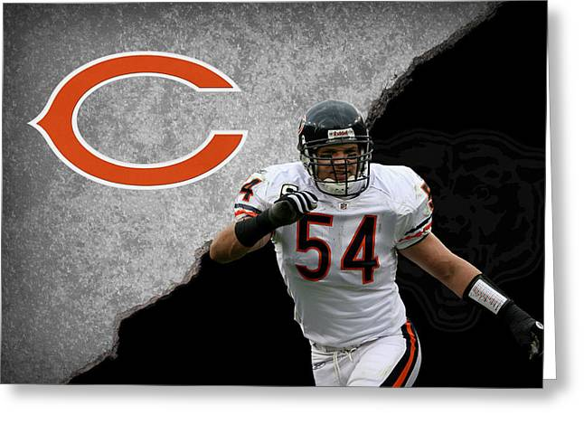 Offense Greeting Cards - Bears Brian Urlacher Greeting Card by Joe Hamilton