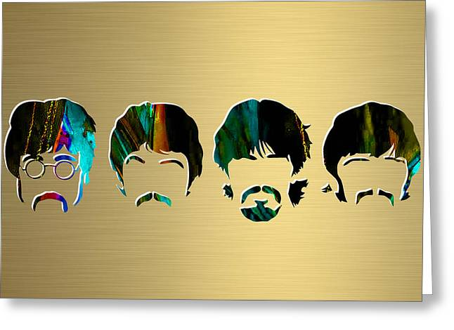 Rock N Roll Mixed Media Greeting Cards - Beatles Gold Series Greeting Card by Marvin Blaine
