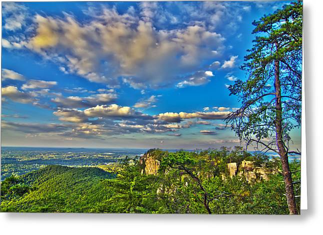Charlotte Greeting Cards - Beautiful Aerial Landscape Views From Crowders Mountain Near Gas Greeting Card by Alexandr Grichenko