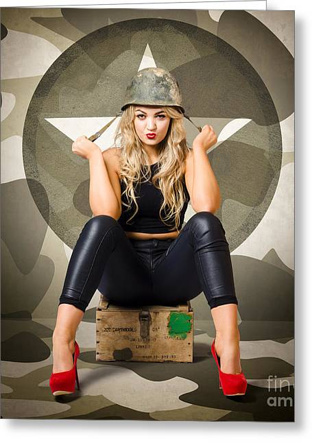 Ambition Greeting Cards - Beautiful army pinup woman on ammo box Greeting Card by Ryan Jorgensen