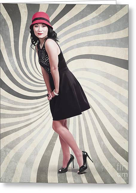 High Heels Abstract Art Greeting Cards - Beautiful asian woman posing. Vintage style Greeting Card by Ryan Jorgensen