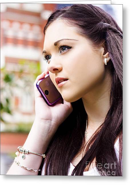 Verbal Greeting Cards - Beautiful Business Woman On Smart Mobile Phone Greeting Card by Ryan Jorgensen