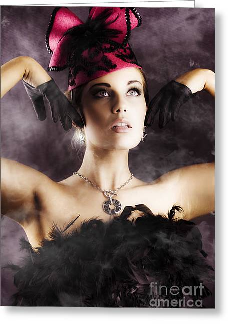 Provocative Clothing Greeting Cards - Beautiful Cancan Dancer Greeting Card by Ryan Jorgensen