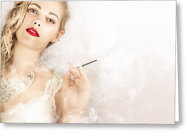 Cigarette Holder Greeting Cards - Beautiful Female Model Actress In Luxury Fashion Greeting Card by Ryan Jorgensen