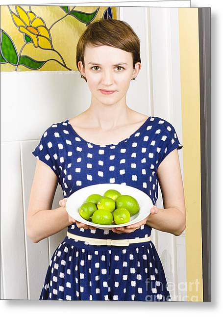 Beautiful Girl Holding Bowl Of Green Limes Greeting Card by Jorgo Photography - Wall Art Gallery