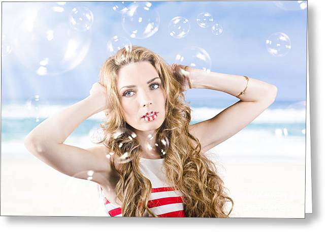 Beautiful Girl Wearing Summer Make-up On Beach Greeting Card by Jorgo Photography - Wall Art Gallery