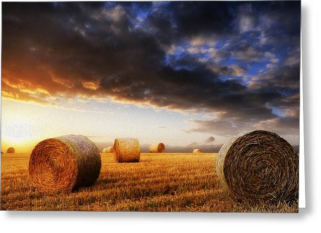 Bale Greeting Cards - Beautiful hay bales sunset landscape digital painting Greeting Card by Matthew Gibson
