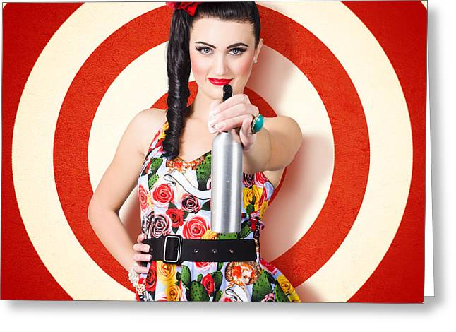 Spotless Greeting Cards - Beautiful housewife taking aim with cleaning spray Greeting Card by Ryan Jorgensen
